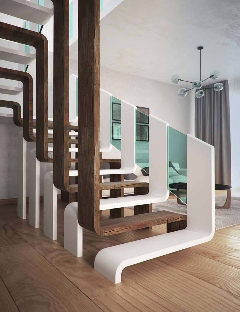 A Staircase with an Interlocking Design
