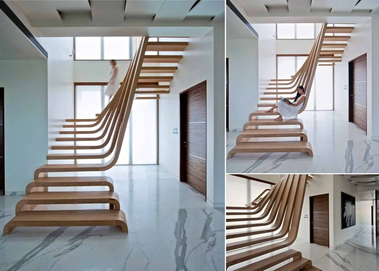 Waves of Wood Staircase