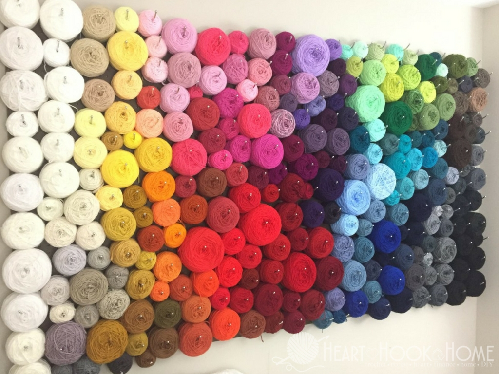 A DIY Pegboard and Felt Yarn Storage Wall
