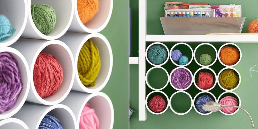 DIY PVC pipe shelf for yarn storage