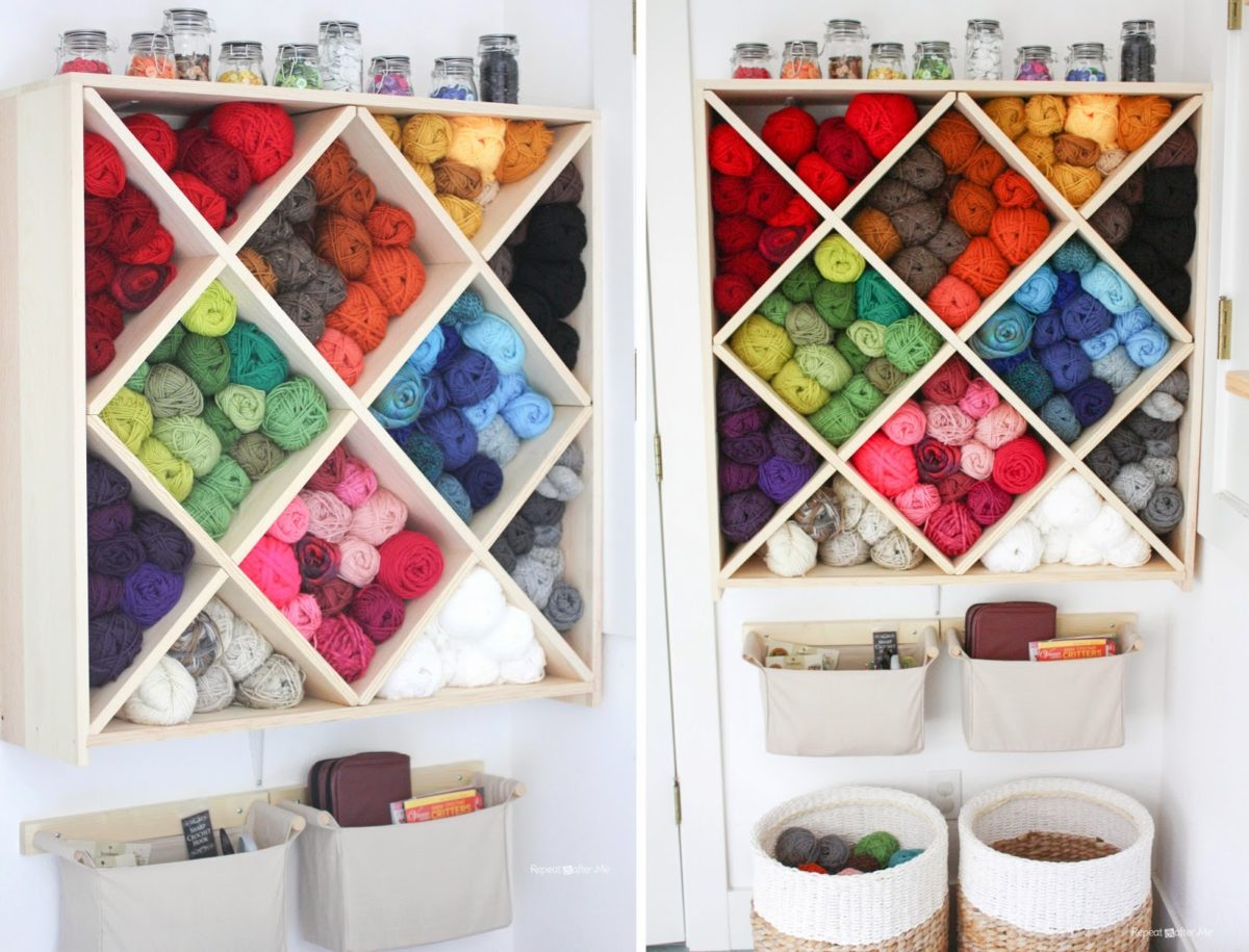 Diamond Bookshelves yarn storage