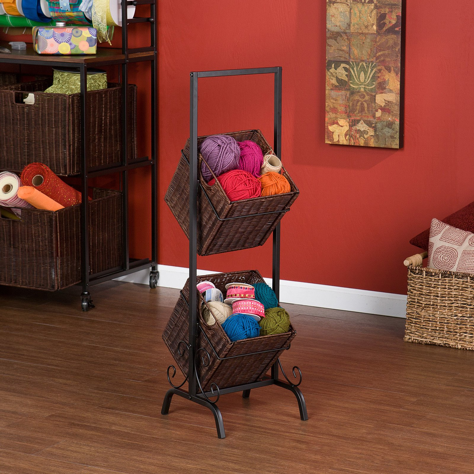 Tiered basket yarn storage