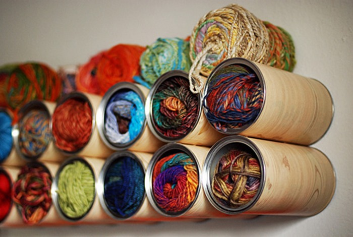Tin Can Organizers yarn storage