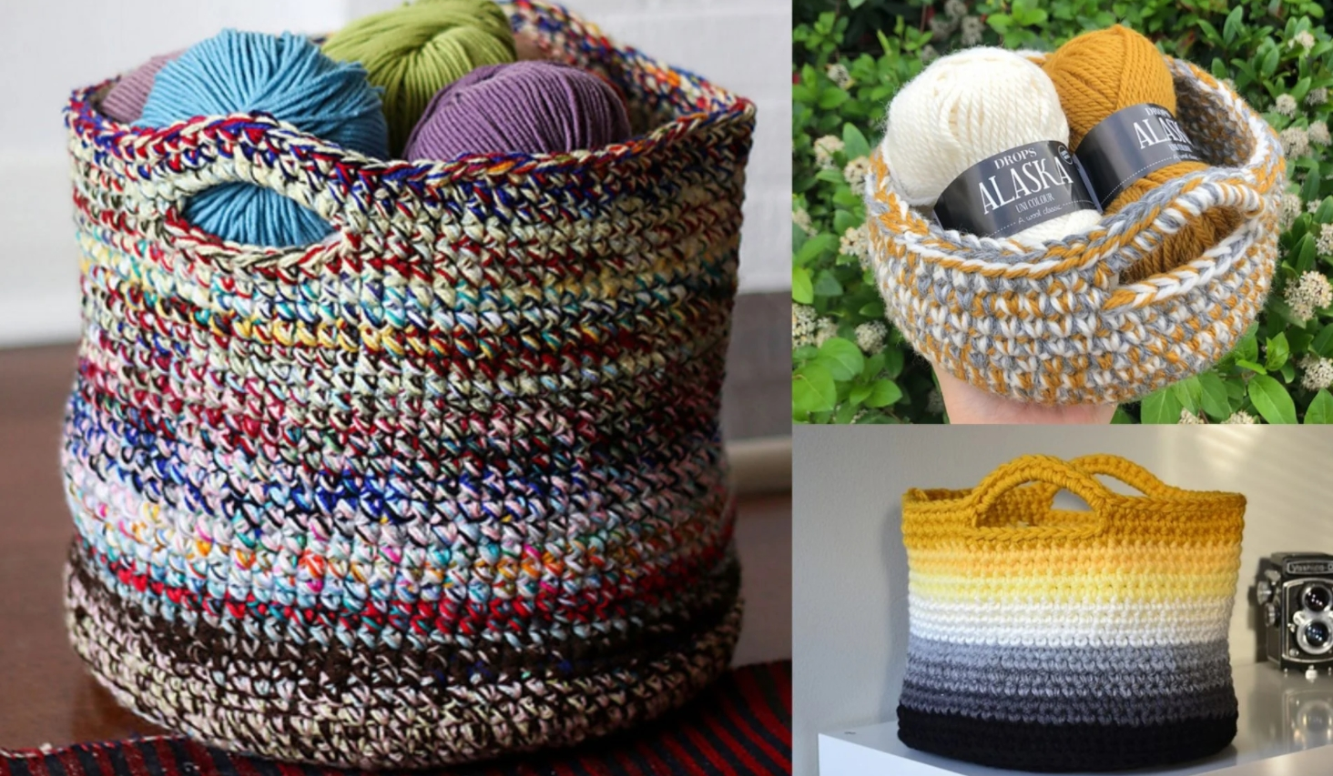 Wicker Designed Basket for Storage of Yarns