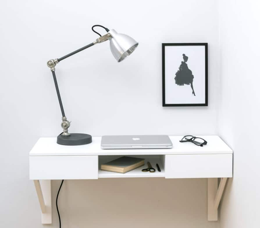 Drawers containing a floating desk