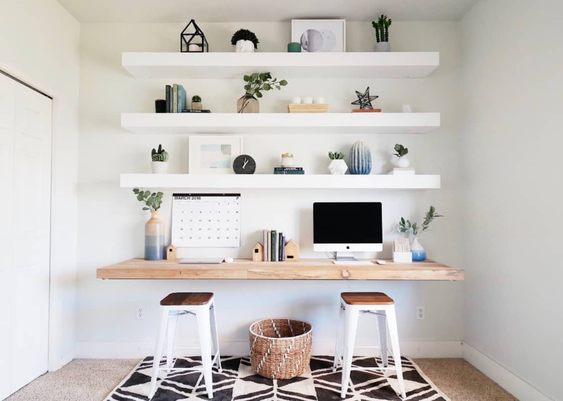 Floating desk with floating shelves